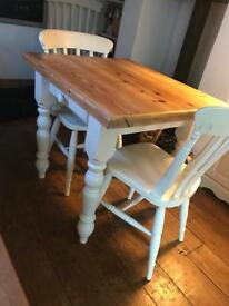 Laura Ashley painted Chunky Farmhouse table and 2 chairs