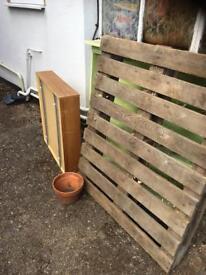 FREE pallet, underbed storage unit and plant pot