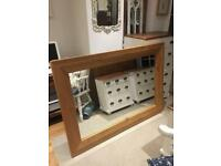 Very large solid oak mirror size 150 cm x 106 cm vgc