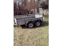galvanised plant trailer 4 wheel bradley tailboard loading ramp good condition