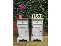 Matching solid pine pair of Bedside cabinets