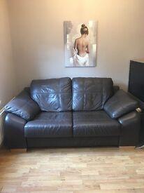 Leather 2 seater sofa dark brown