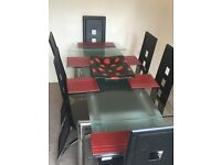 Extendable Glass & Chrome Table with 6 Elegant High Backed Black Leather & Chrome Chairs