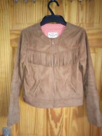Gorgeous girl's tan faux suede jacket - immaculate