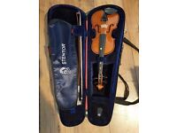 1/4 size used violin with bow and case in very good condition for collection
