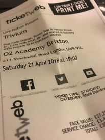 2 Tickets for TRIVIUM at the 02 Academy Brixton 21/04/18