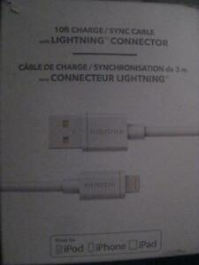 Insignia 10ft Lightning Charger and Sync Cable for iPhone / iPad Air Pro / iPad mini / iPod Touch Nano. Apple MFi Certif