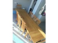 Hand made oak table (extendable) and 8 chairs