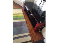 Black/Red Metal and Glass TV Stand - Excellent Contition