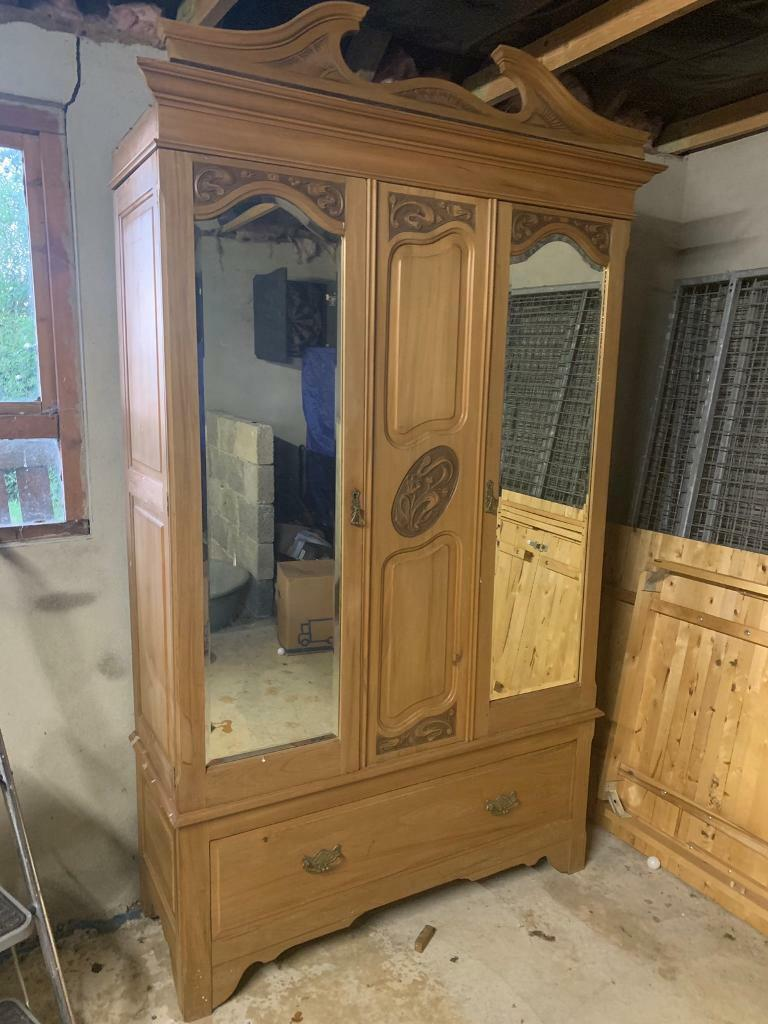 Large Freestanding Solid Pine Wardrobe With Mirror Doors And Single Drawer In Cookstown County Tyrone Gumtree