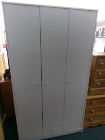 New triple White or Oak Effect wardrobe with two drawers