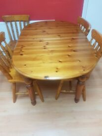 Solid Pine Wood Table & 4 Chairs