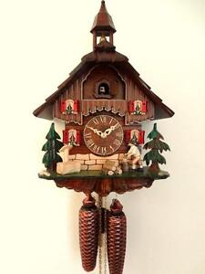 cuckoo clock black forest 8 day  german wood chopper mechanical new