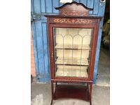 Glazed Display Cabinet With Mirror on Top, Lead Glass, Edwardian Style, Vintage.