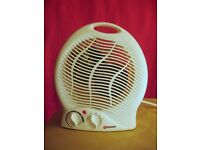 Portable electric fan heater 1000W/2000W thermostatic control, fan only setting, safety cut-out