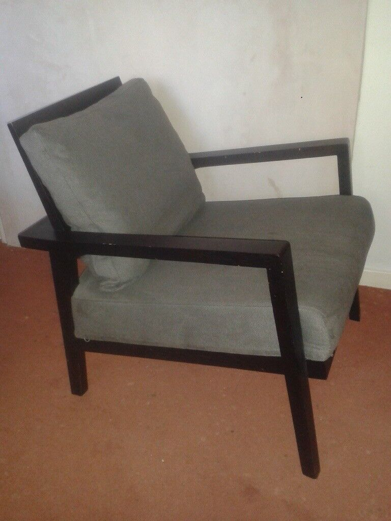 WOODEN MINIMALIST ARMCHAIR. DANISH/ ERCOL STYLE.SMALL.GREY. NEW (london N3 )