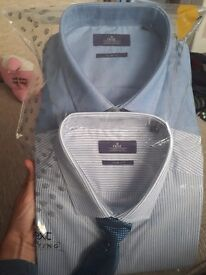 2 x mens next shirts and 1 tie BRAND NEW IN PACKET size 16.5