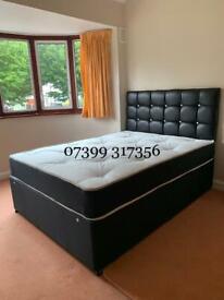 Black Divan Beds with Headboard & Mattress Complete