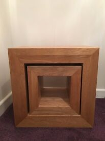 Solid Oak 2 Cube Nest of Tables