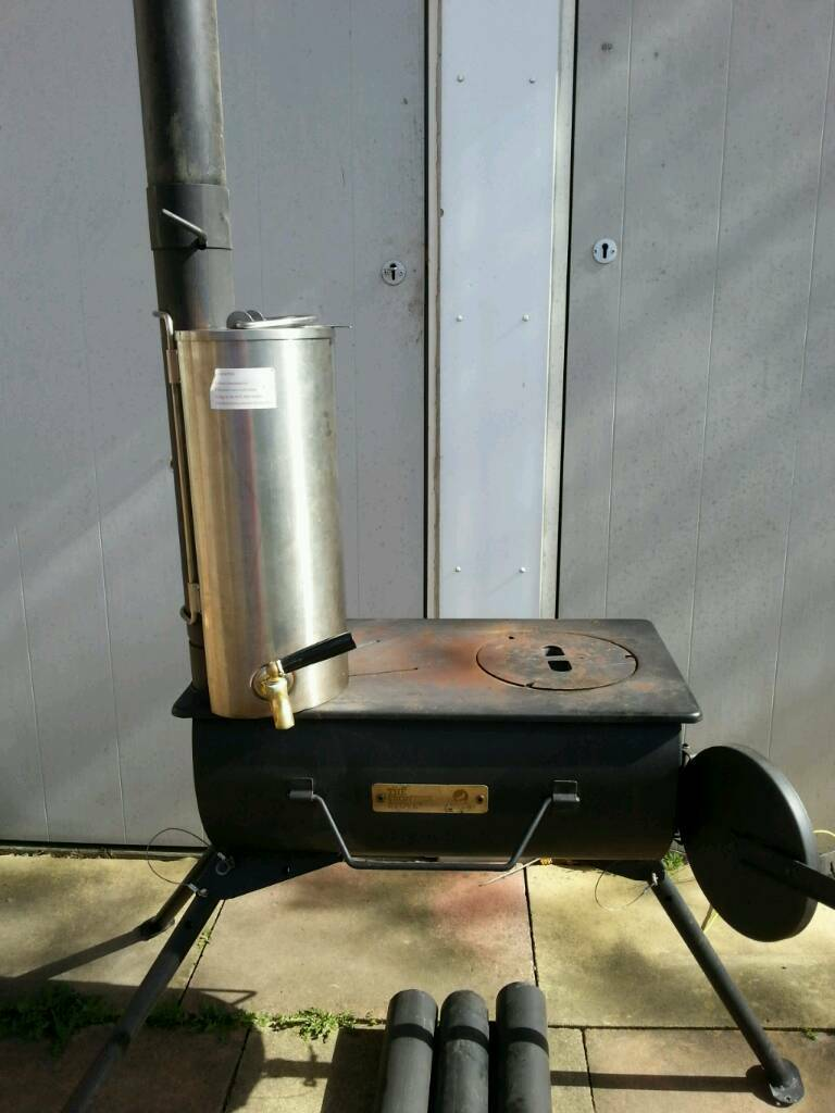 Frontier Wood Stove completein Heathrow, LondonGumtree - Wood stove used in a Tipi with additional 2.5 mtr chimney flue also additional 1.5 ltr stainless steel water heater that connects to chimney with carry cases