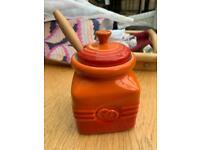 Lecrueset Volcanic Orange Marmalade/Jam Jar Rare Discontinued