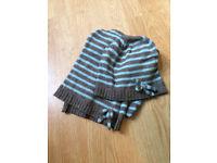 White Stuff - Blue & Grey Striped Wollen Hat & Scarf
