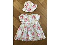 Emilie Et Rose (3 month/62cm)summer dress and matching hat