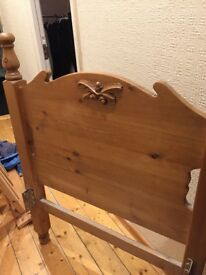 Solid oak small single bed 2ft 6in