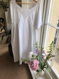 Vintage pretty white cotton nightdress with crotched trim