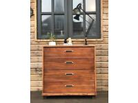 Vintage industrial mid 20th century chest of drawers