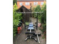 Gym Equipment - Marcy MCB880M Olympic Bench with Squat & Lat, includes all accessories, and Weights