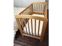 John Lewis Anna Cot, natural wood, 3 mattress positions - no drop side