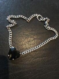 Black Onyx Heart Charm on silver chain