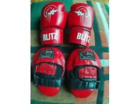 Blitz 14 oz Gloves & Ukasa Focus Pads. Excellent condition.