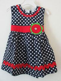 Brand New Girls Dress Black White dots