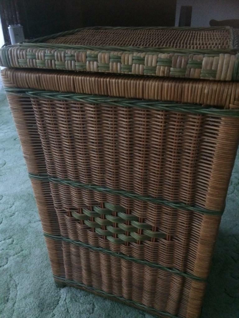 Large tall wicker linen/storage unit
