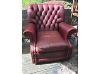 Ox blood red leather chair