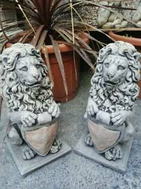 PAIR LIONS WITH SHIELD STONE ORNAMENT GARDEN