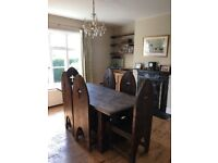 Solid wood dining room table and six chairs with matching mirror