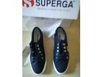 Superga 1750 Cotu Evergreen Trainers Blu Size 3.5 Brand new with Box