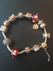 Pandora Bracelet with 10 x Charms