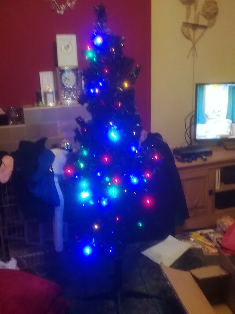 Brand New Black Pre Lit Christmas Tree Multi Colour Lights Led