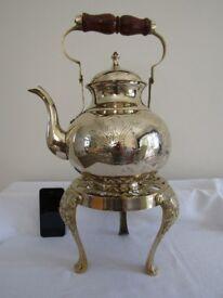 Vintage Brass Teapot on Brass Trivit - Large - Brass Ornament Kitchenalia