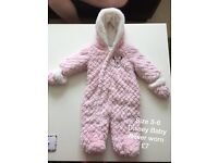 Pink fluffy snowsuit - size 3-6