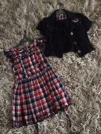 Dress with short sleeves cardigan 5-6years. Egham