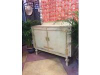 Art Deco cream and gold leaf sideboard cupboard dresser