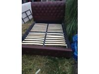 Brown leather Double bed and mattress