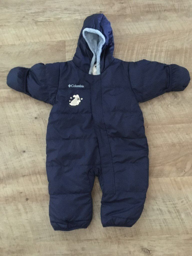 Baby winter onesie in blue aged 12 months with fold over hand and feet warmers