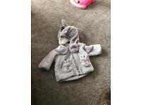 Girls coat hat & mittens 0-3 mothercare