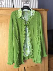 Green Ribbed Cardigan & Blouse - (M&S) - Price Is For Both
